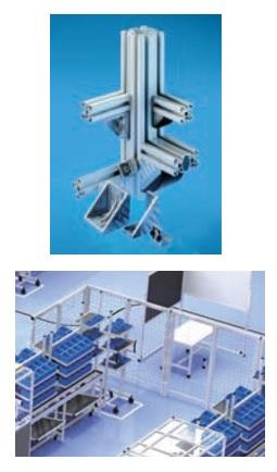 製品写真:安全柵、クリーンブース、棚、作業台等のアルミプロファイル組立製品