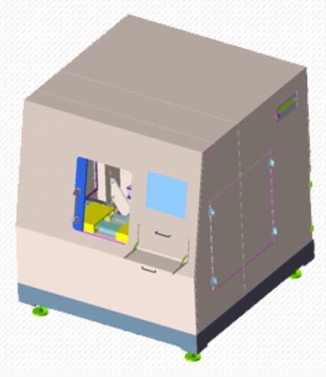 製品写真:微細加工用の精密ステージ搭載 レーザ加工装置